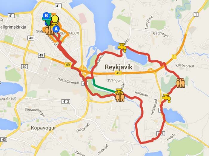 map of the course of the Iceland half marathon and 10K